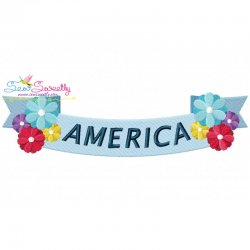 4th of July Ribbon-1 Patriotic Embroidery Design