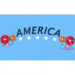 4th of July Floral America Embroidery Design