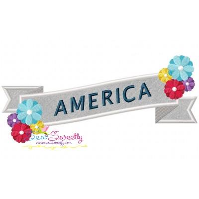 4th of July Ribbon-2 Patriotic Applique Design