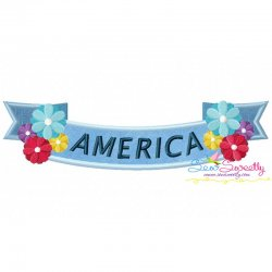 4th of July Ribbon-1 Patriotic Applique Design
