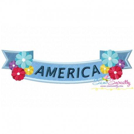 4th of July Ribbon-1 Patriotic Applique Design
