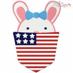 Bunny Girl In Pocket Patriotic Applique Design