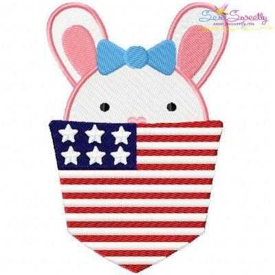 Bunny Girl In Pocket Patriotic Embroidery Design