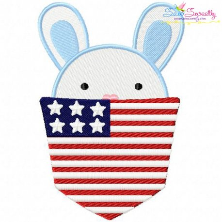 Bunny Boy In Pocket Patriotic Embroidery Design Pattern- Category- 4th of July Designs- 1