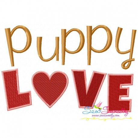 Puppy Love Embroidery Design
