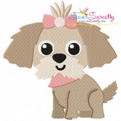 Shih Tzu Dog Embroidery Design
