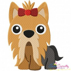 Yorkie Dog Embroidery Design