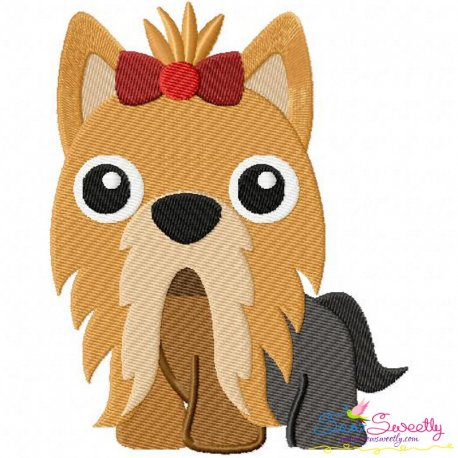 Yorkie Dog Embroidery Design