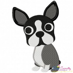 Boston Terrier Dog Embroidery Design