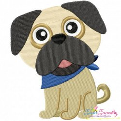 Cute Pug Dog Embroidery Design