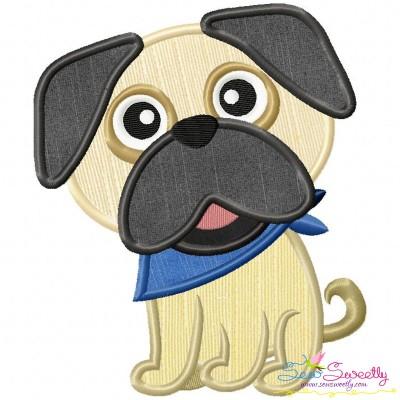 Cute Pug Dog Applique Design