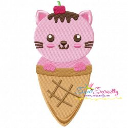 Kitty Cone Embroidery Design