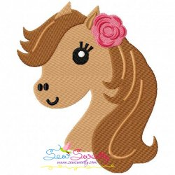 Horse Head Girl Embroidery Design