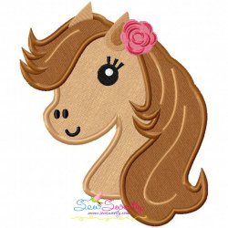 Horse Head Girl Applique Design