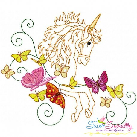 Magic Unicorn-1 Embroidery Design Pattern- Category- Redwork And Vintage Designs- 1