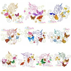 Magic Unicorns Embroidery Design Bundle