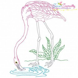 Vintage Stitch Flamingo-1 Embroidery Design