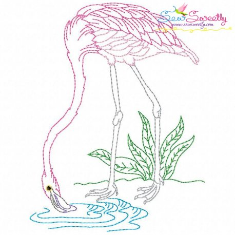 Vintage Stitch Flamingo-1 Embroidery Design