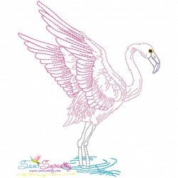 Vintage Stitch Flamingo-2 Embroidery Design