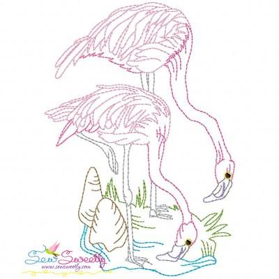 Vintage Stitch Flamingos-3 Embroidery Design