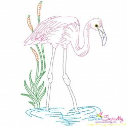 Vintage Stitch Flamingo-5 Embroidery Design