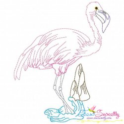 Vintage Stitch Flamingo-6 Embroidery Design