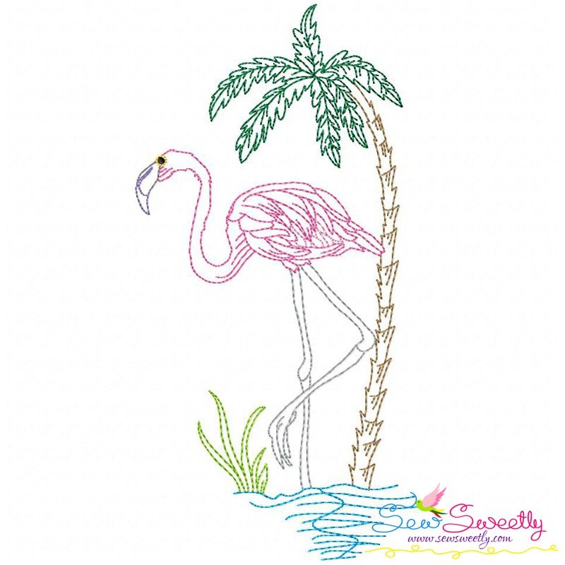 Vintage stitch flamingo machine embroidery design for