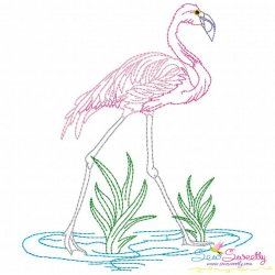 Vintage Stitch Flamingo-8 Embroidery Design