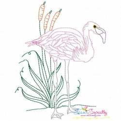 Vintage Stitch Flamingo-9 Embroidery Design