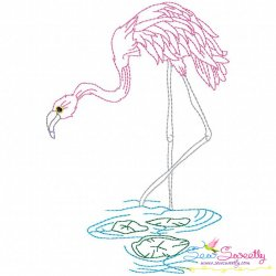 Vintage Stitch Flamingo-10 Embroidery Design