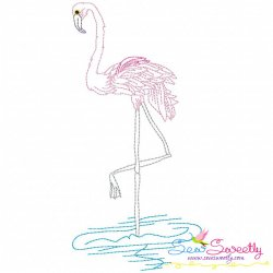 Vintage Stitch Flamingo-11 Embroidery Design