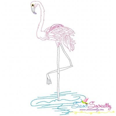 Vintage Stitch Flamingo-11 Embroidery Design