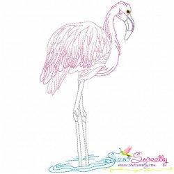 Vintage Stitch Flamingo-12 Embroidery Design