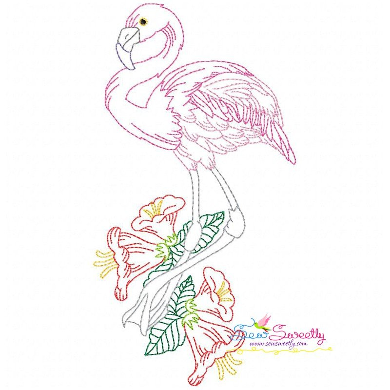 Vintage stitch flamingos embroidery design bundle for
