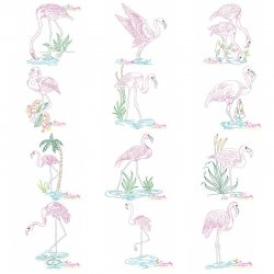 Vintage Stitch Flamingos Embroidery Design Bundle