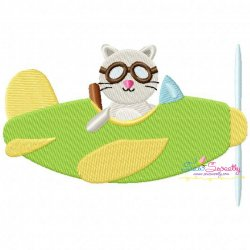 Cat Pilot Embroidery Design