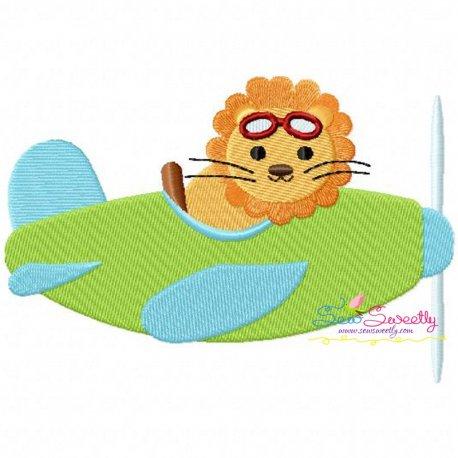 Lion Pilot Embroidery Design