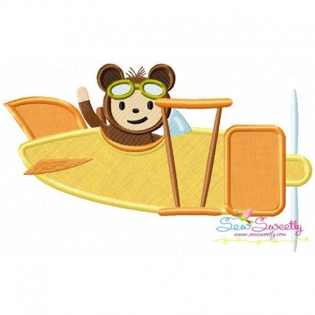 Monkey Pilot Applique Design Pattern- Category- Aviation Designs- 1