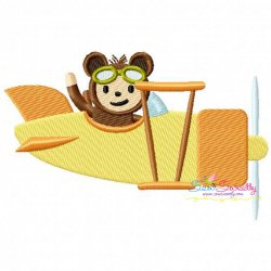 Monkey Pilot Embroidery Design