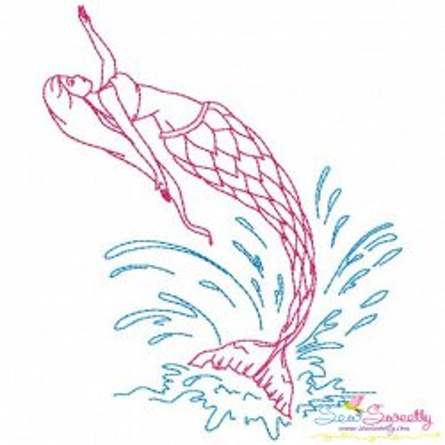 Vintage Stitch Mermaid-3 Embroidery Design