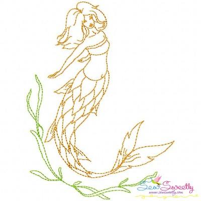 Vintage Stitch Mermaid-4 Embroidery Design