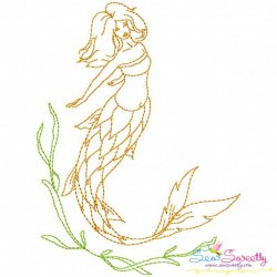 Vintage Stitch Mermaid-4 Embroidery Design