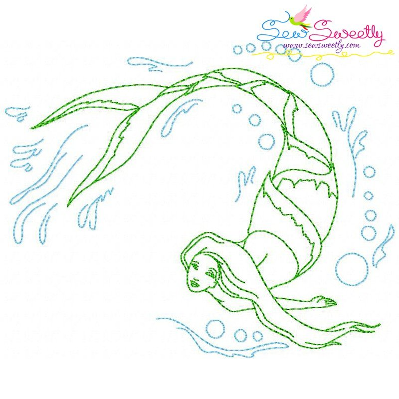 Vintage stitch mermaid machine embroidery design for