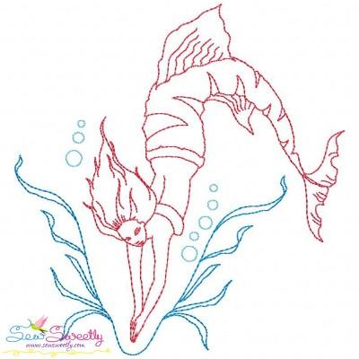 Vintage Stitch Mermaid-6 Embroidery Design