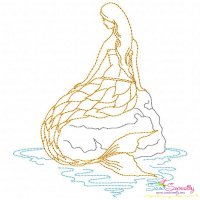 Vintage Stitch Mermaid-7 Embroidery Design