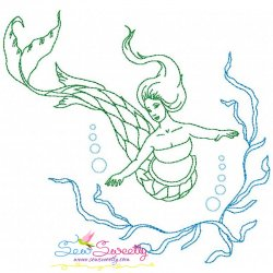 Vintage Stitch Mermaid-8 Embroidery Design