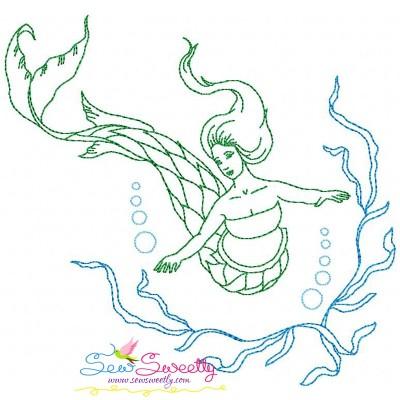 Vintage Stitch Mermaid-8 Embroidery Design
