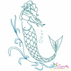 Vintage Stitch Mermaid-9 Embroidery Design