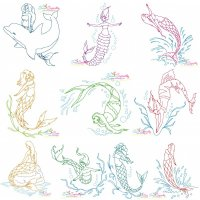 Vintage Stitch Mermaids Embroidery Design Bundle