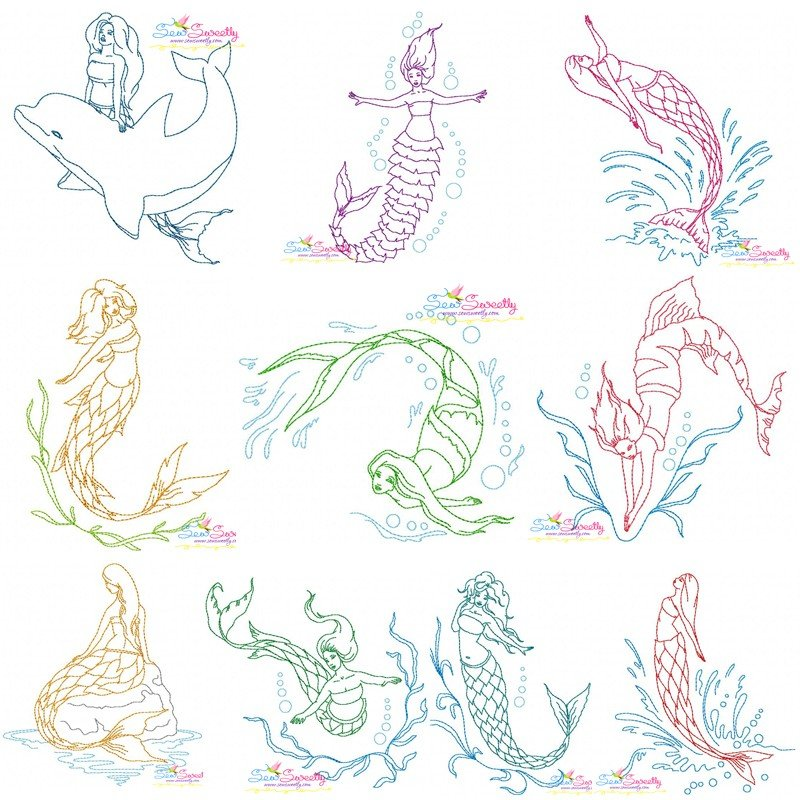 Vintage stitch mermaids embroidery design bundle for
